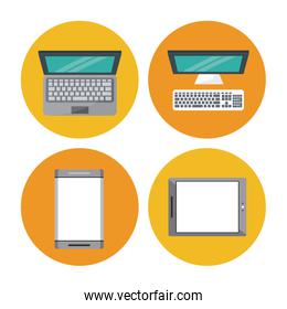 white background with colorful circles with icons in top view of tech devices
