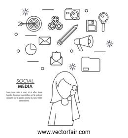 monochrome background of silhouette faceless woman answering phone with icons social media on top