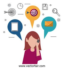 colorful faceless half body woman answering phone and speech bubbles on top with icons of smartphone and target and mail