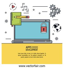 white background poster of apps development with laptop and icons apps around