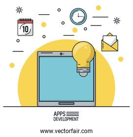 white background poster of apps development with tablet device and icons apps on top
