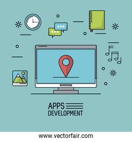 light blue background poster of apps development with desktop computer with map pointer in screen and common icons around