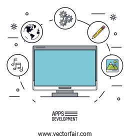 white background poster of apps development with desktop computer and icons app of more use forming a circle
