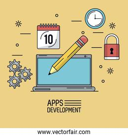 beige background poster of apps development with laptop with pencil in screen and common icons around