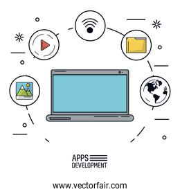 white background poster of apps development with laptop and icons app of more use forming a circle