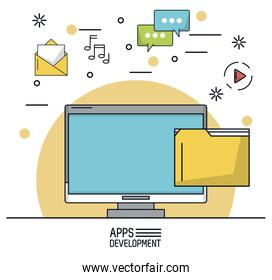 white background poster of apps development with desktop computer and icons apps on top