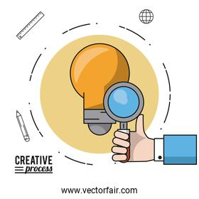 colorful poster creative process with silhouette of hand with magnifying glass over light bulb