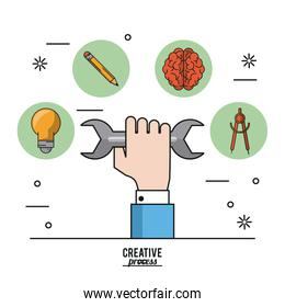 colorful poster creative process of hand with wrench and icons on top of light bulb and pencil and brain and compass