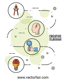 colorful poster creative process with way to idea development