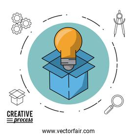 colorful poster creative process of circle with cardboard box and light bulb