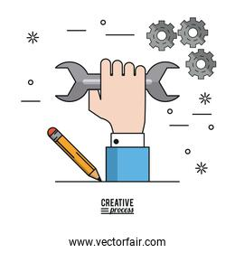 colorful poster creative process of hand with wrench and pencil and pinions on background