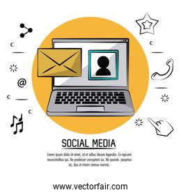 colorful poster of social media with laptop computer with picture profile on screen and mail in yellow circle