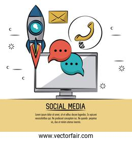 colorful poster of social media with desktop computer and icons of rocket and speech bubble and phone and mail