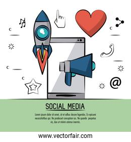 colorful poster of social media with icons rocket megaphone heart and smartphone in back