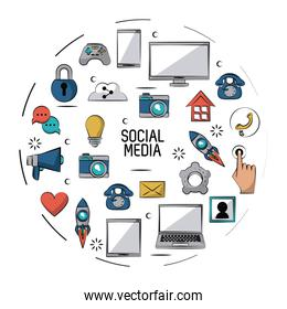 colorful poster of social media with social media icons forming a circle