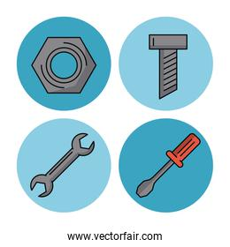 Construction tools icons vector illustration