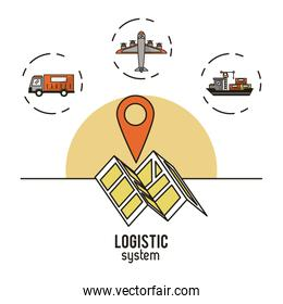Logistic and delivery system infographic