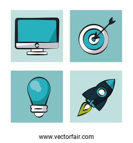 Digital marketing and online business icons