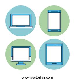 Laptop smartphone pc and tablet