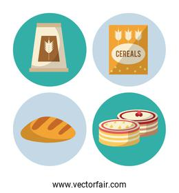 set of Carbohydrates food icons
