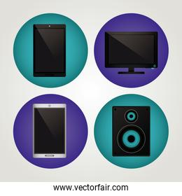 Technology devices realistic icons