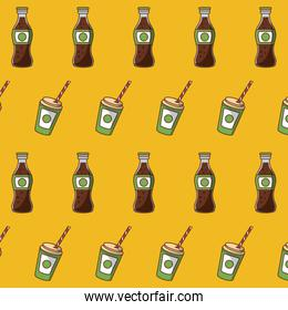 Soda bottle and cup background