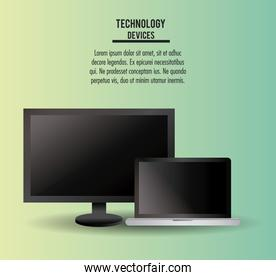 Tv and laptop technologies infographic