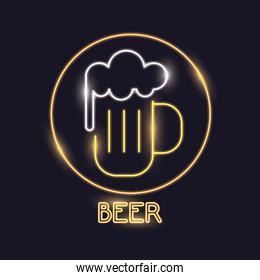 Beer neon lights icon
