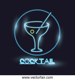 Cocktail neon lights icon