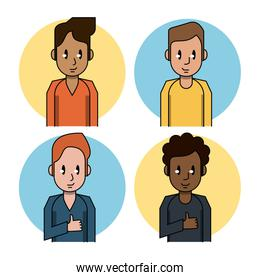 Young people cartoon designs