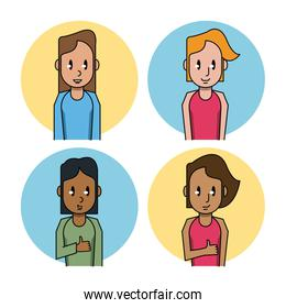 Young people cartoon icons