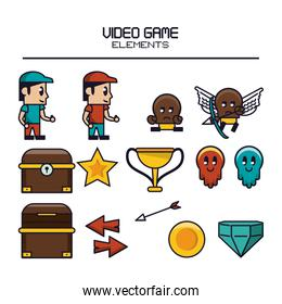 Videogame elements icons