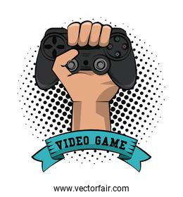 Gamer hand with gamepad