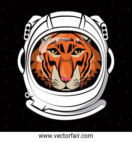 Cool tiger on astronaut helmet print for t shirt