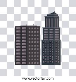 Urban buildings isolated