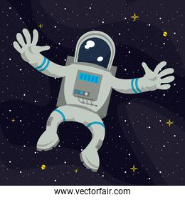 Astronaut flying on space