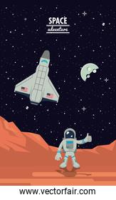 Astronaut in mars with spaceship