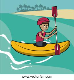 Man on kayak cartoon