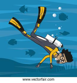 Man diving with fins