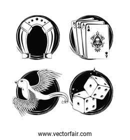 Set of tattoo drawings in black and white