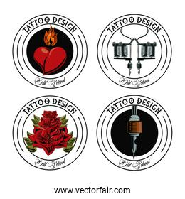 Set of tattoo design emblems