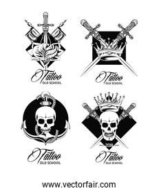 Set of tattoo design emblems in black and white