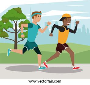 Fitness people running at park