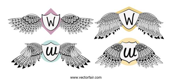 Set of wings emblem with badge