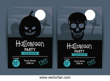 Set of Halloween party invitation cards
