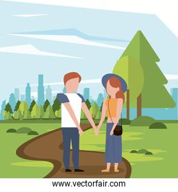 couple man and woman holding hands