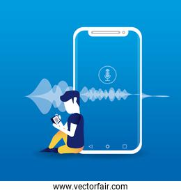 smartphone connected with wireless speaker