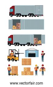 Set of delivery and cargo icons