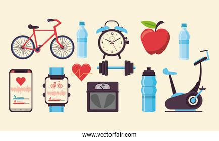fitness and healthy lifestyle icons set