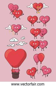 love hearts cartoon